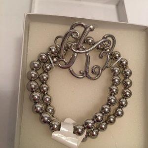 Beaded Silver Bracelet - letter K Costume jewelry